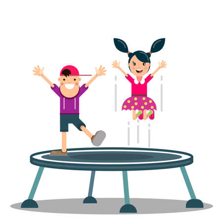 happy boy and girl are jumping on a trampoline. Sports active games. Vector illustration in a flat style Illustration