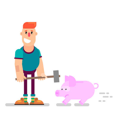 A young businessman holds a hammer in his hand to break a piggy bank. Difficult financial situation. Credit history. Failure in business. Vector illustration in a flat style