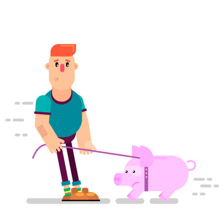 A person leads a piggy bank to the bank. Put money on the deposit. Monetary contributions. Vector illustration in a flat style.