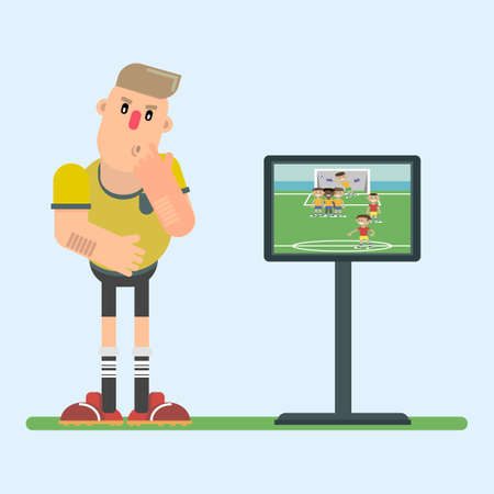 The football referee reviews the repeat of the game episode on the display. Mindful of making a decision. Vector illustration in a flat style. 스톡 콘텐츠