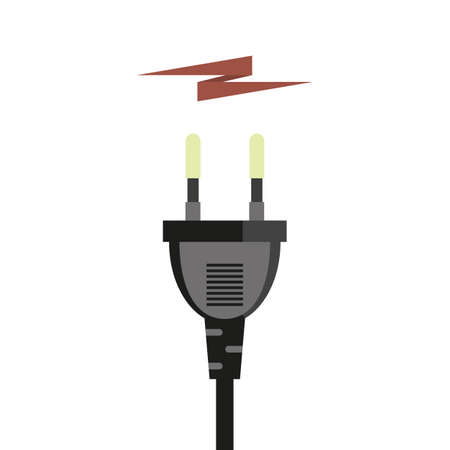 Plug connector and power, charging energy. Vector image, icon not white background.