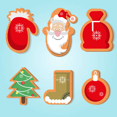 Cute Christmas gingerbread for New Year cards design. Vector illustration
