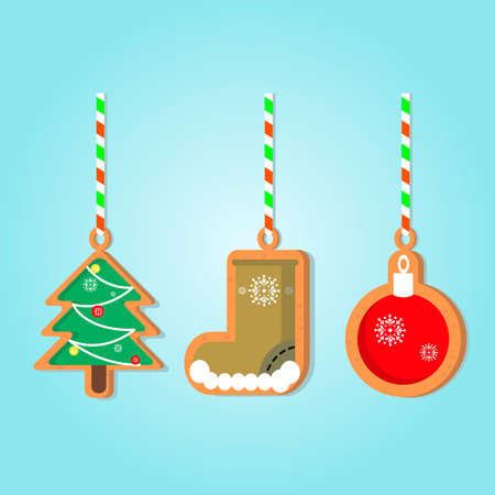 Cute Christmas gingerbread for design on a ribbon. Vector illustration.