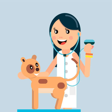Veterinary Medicine The doctor examines the cat. Vector illustration in flat style.