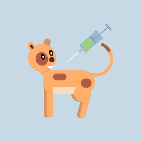 Vaccination cats from diseases. Veterinary medicine. Vector illustration in flat style. Ilustração