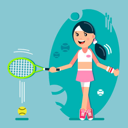 The girl plays tennis. Racket hit the ball, vector illustration in flat style.