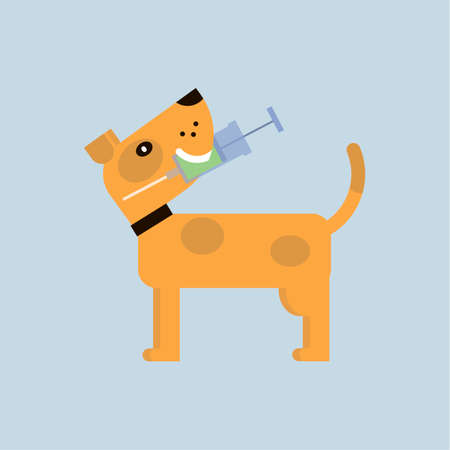 Vaccination of dogs against diseases. Veterinary medicine. Vector flat style illustration.