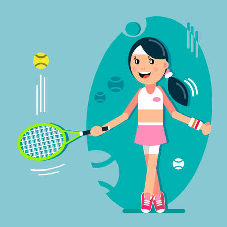The girl hits the ball with a tennis racket. Vector illustration in flat style. Banco de Imagens