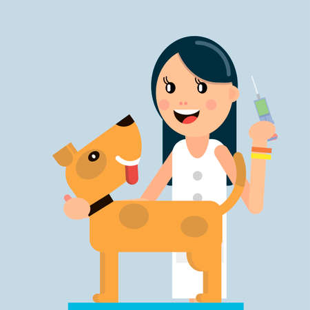 The doctor vaccinates the dog. Veterinary medicine. Vector illustration in flat style.