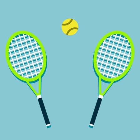 Tennis racket and ball isolated. Vector illustration for design in flat style.