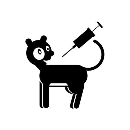Vaccination cats black and white logo. Veterinary medicine. Vector illustration in flat style. Illustration