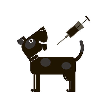 Vaccination dogs. Veterinary medicine. Black outline of a pet on a white background. Vector illustration. Illustration