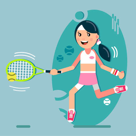 A girl plays tennis. Beats the ball with a racket. Vector illustration in flat style.