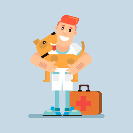 Veterinary Medicine The doctor keeps the cured dog. Vector illustration in flat style.