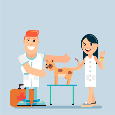 A cat in a veterinary clinic on the examination by a doctor. Veterinary medicine. Vector illustration in flat style. Ilustração