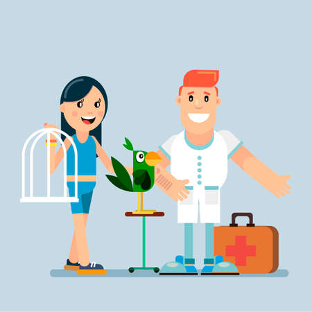 Veterinary office with a doctor and parrot pets. Vector illustration. Ilustração