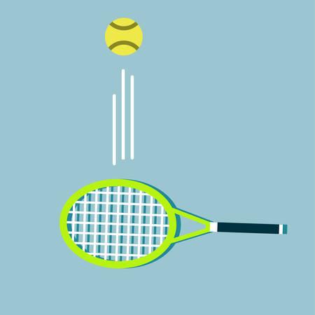 Tennis balls and tennis racquet, vector illustration. Yellow tennis balls. Tennis design over white background vector illustration. Sports, fitness, activity vector design.