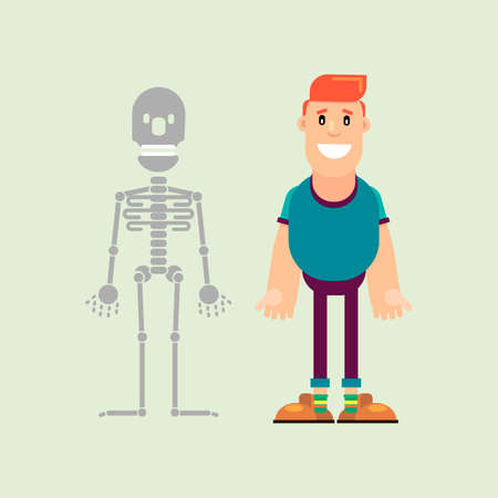 Man and male skeleton. Visual aid on human anatomy. Vector illustration in flat style.
