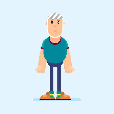 Cartoon character man with a bandage on his head. Trauma to the skull. Vector illustration in flat style.