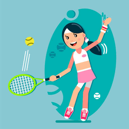 The girl is hitting the ball with a tennis racket. Vector illustration in flat style. Ilustração