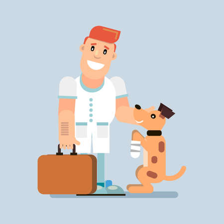 Veterinary Medicine The doctor bandaged his sick dog s paw. Vector illustration in flat style. Ilustração