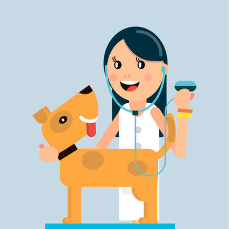 The doctor examines the dog. Veterinary medicine. Vector illustration in flat style. Illustration