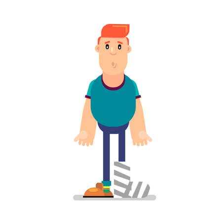Cartoon character with a bandage on his leg. Vector illustration.
