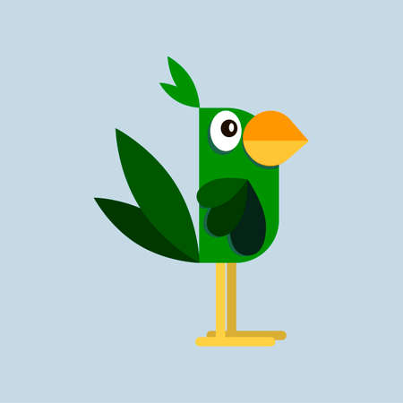 Ara parrot. Macaw. Vector image in flat style