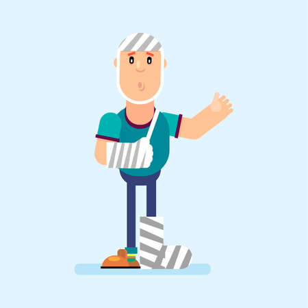 A man in a bandage on his arm, leg and head after a disaster. Vector illustration in flat style.