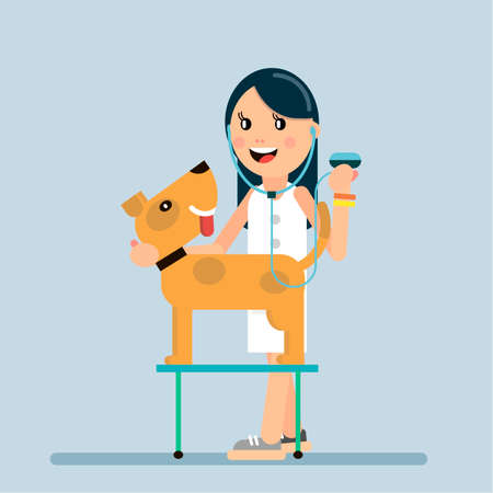 The doctor examines the dog. Veterinary medicine. Vector illustration in flat style. Ilustração