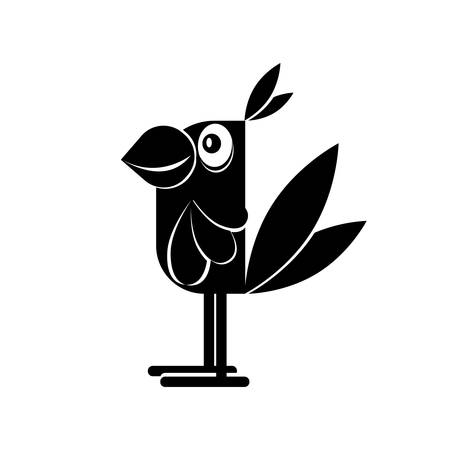 Black outline of a parrot on a white background for design. Vector illustration. Ilustração