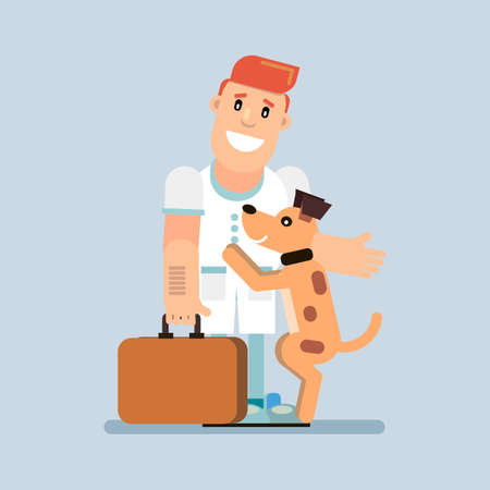 A joyful dog meets the doctor. Veterinary Medicine Vector illustration in flat style.