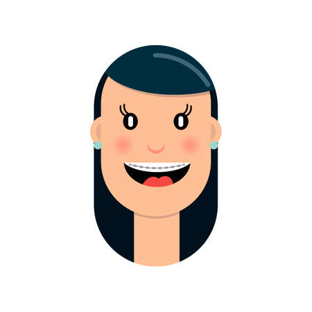 The girl with braces on her teeth laughs with joy. Vector illustration in flat style.