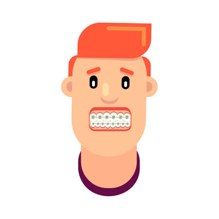 Man with braces on his teeth vector illustration Illustration