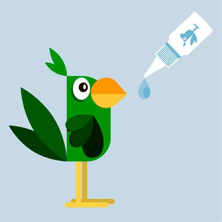 Veterinary medicine. Medicine for the sick parrot. Vector flat style illustration.