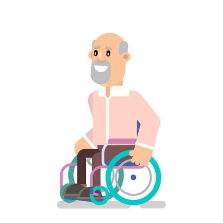 Grandpa is wheelchair-bound for a walk. Vector illustration flat design Ilustração