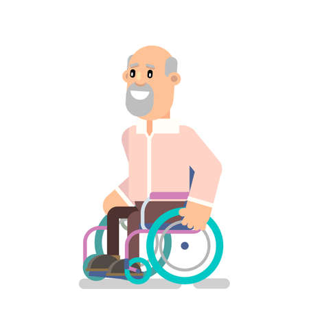Grandpa is wheelchair-bound for a walk. Vector illustration flat design Illustration