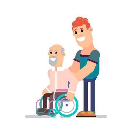 Young man social worker on a walk with his grandfather in a wheelchair. Vector illustration in flat style. Illustration