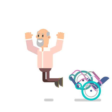 Grandpa recovered and got up from the wheelchair. Jumped up for joy. Vector illustration in flat style.