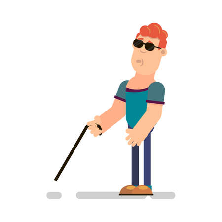 Blind with a stick. Vector illustration