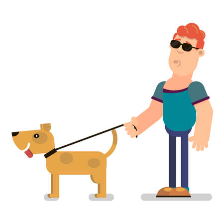 Illustration of a guide dog that leads a blind person. Vector illustration in flat style. Illustration