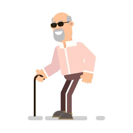 Old blind man in black glasses and wand. Vector illustration in flat style. Ilustração
