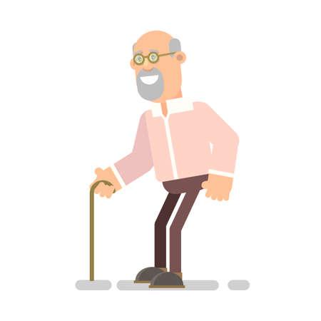 Old man with a cane. An elderly man suffering from back pain. Senior man sick. Vector illustration flat design Ilustração