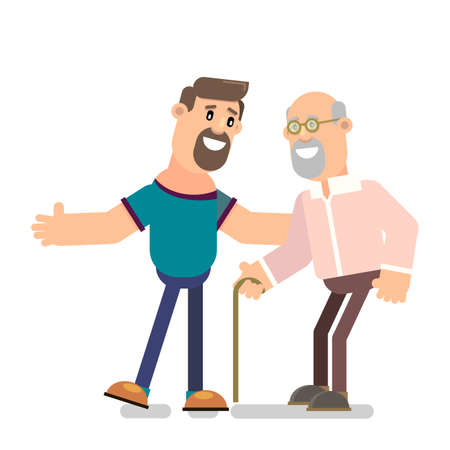 A young man with an old man. Vector illustration in flat style. Ilustração
