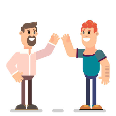 Happy guy giving five isolated set. Welcome at the meeting. Vector illustration in flat style.
