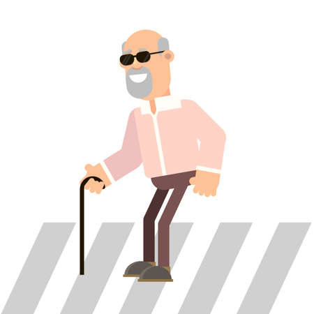 Blind man holding a cane moves on a pedestrian crossing. Vector illustration in flat style. Illustration