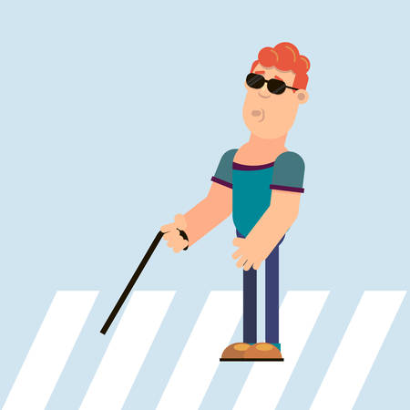 A blind man holds in his hand a cane passes through a pedestrian crossing. Vector illustration in flat style.