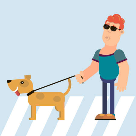 Blind and dog guide at the pedestrian crossing. Vector illustration in flat style.