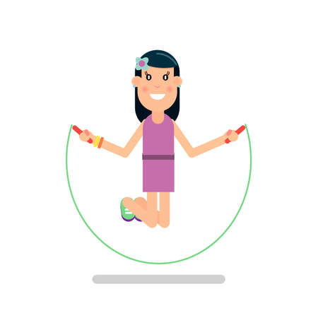 Little girl playing skipping rope.Vector illustration in flat style. Ilustração