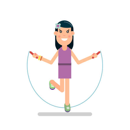 Girl jumping rope. Moving game. Vector illustration in flat style. Ilustração